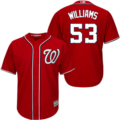 Nationals #53 Austen Williams Red New Cool Base Stitched Youth MLB Jersey