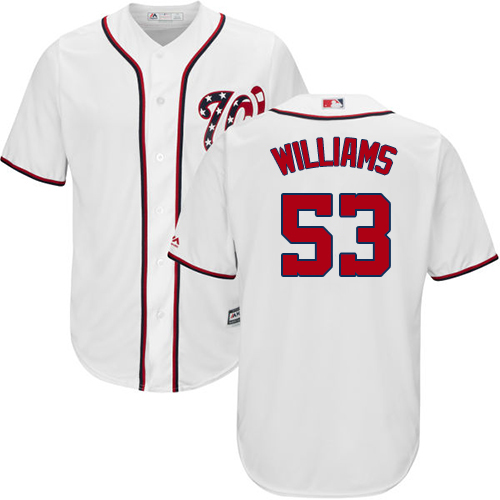 Nationals #53 Austen Williams White New Cool Base Stitched Youth MLB Jersey