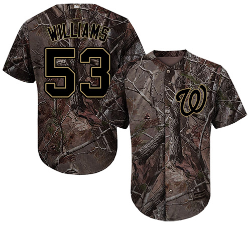 Nationals #53 Austen Williams Camo Realtree Collection Cool Base Stitched Youth MLB Jersey