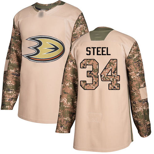 Adidas Ducks #34 Sam Steel Camo Authentic 2017 Veterans Day Youth Stitched NHL Jersey