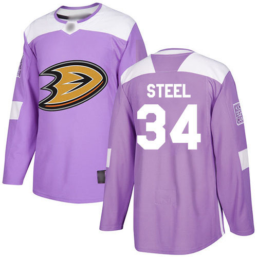 Adidas Ducks #34 Sam Steel Purple Authentic Fights Cancer Youth Stitched NHL Jersey