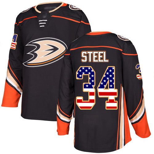 Adidas Ducks #34 Sam Steel Black Home Authentic USA Flag Youth Stitched NHL Jersey