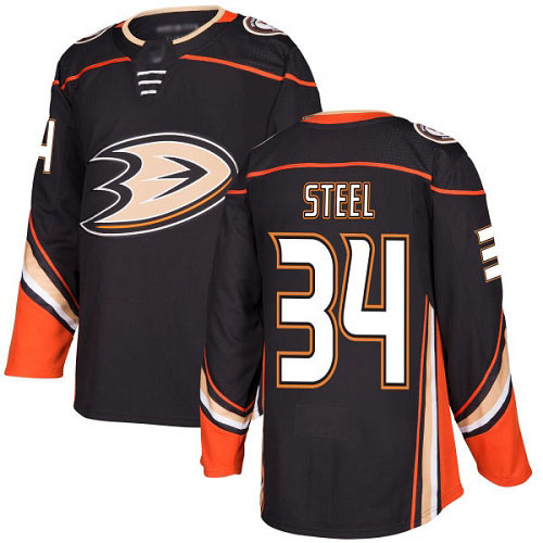 Adidas Ducks #34 Sam Steel Black Home Authentic Youth Stitched NHL Jersey