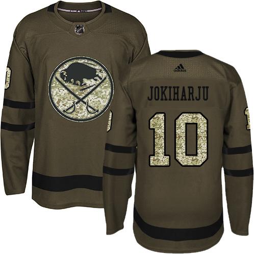 Adidas Sabres #10 Henri Jokiharju Green Salute to Service Stitched Youth NHL Jersey