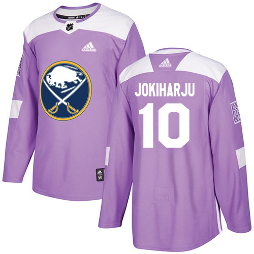 Adidas Sabres #10 Henri Jokiharju Purple Authentic Fights Cancer Stitched Youth NHL Jersey