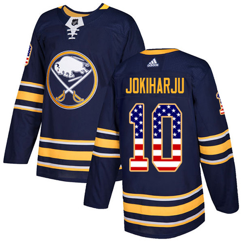 Adidas Sabres #10 Henri Jokiharju Navy Blue Home Authentic USA Flag Stitched Youth NHL Jersey
