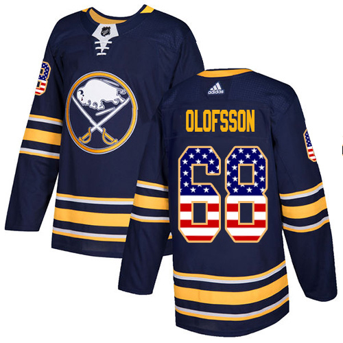 Adidas Sabres #68 Victor Olofsson Navy Blue Home Authentic USA Flag Stitched Youth NHL Jersey