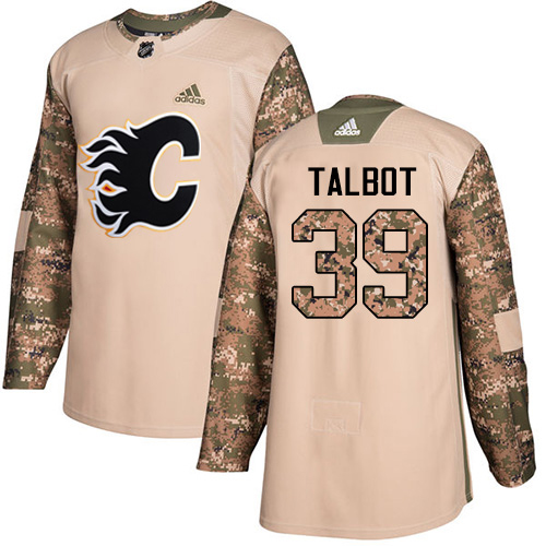 Adidas Flames #39 Cam Talbot Camo Authentic 2017 Veterans Day Stitched Youth NHL Jersey