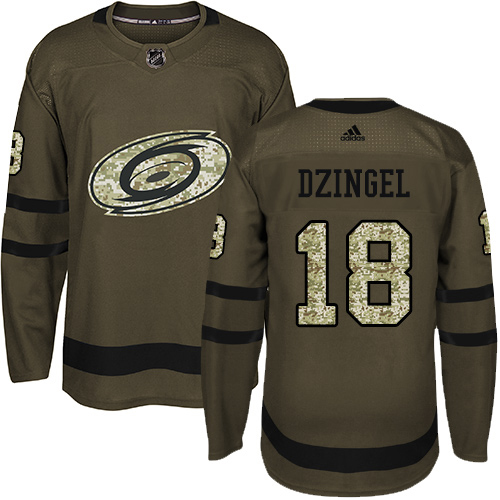 Adidas Hurricanes #18 Ryan Dzingel Green Salute to Service Stitched Youth NHL Jersey