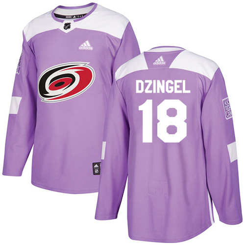 Adidas Hurricanes #18 Ryan Dzingel Purple Authentic Fights Cancer Stitched Youth NHL Jersey
