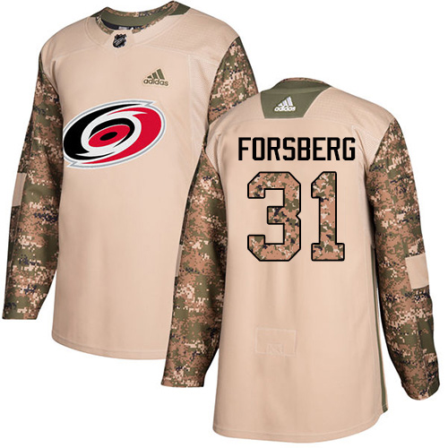 Adidas Hurricanes #31 Anton Forsberg Camo Authentic 2017 Veterans Day Stitched Youth NHL Jersey