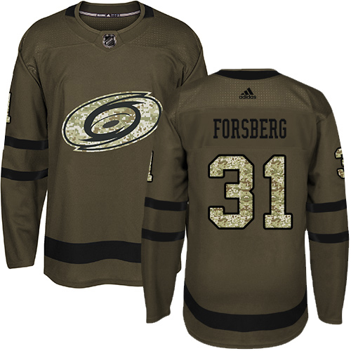 Adidas Hurricanes #31 Anton Forsberg Green Salute to Service Stitched Youth NHL Jersey