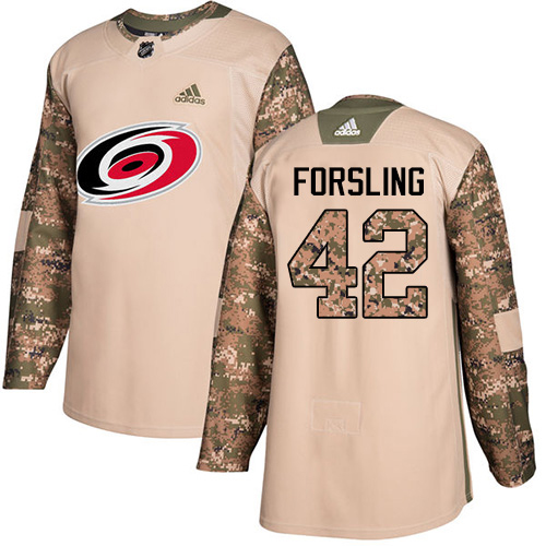 Adidas Hurricanes #42 Gustav Forsling Camo Authentic 2017 Veterans Day Stitched Youth NHL Jersey