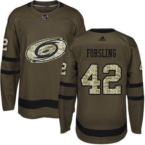 Adidas Hurricanes #42 Gustav Forsling Green Salute to Service Stitched Youth NHL Jersey