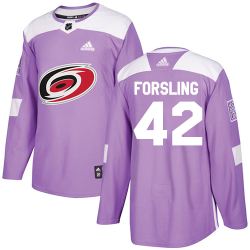 Adidas Hurricanes #42 Gustav Forsling Purple Authentic Fights Cancer Stitched Youth NHL Jersey