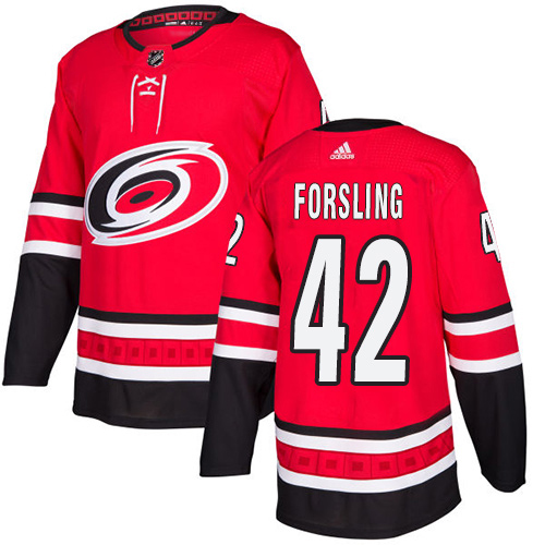 Adidas Hurricanes #42 Gustav Forsling Red Home Authentic Stitched Youth NHL Jersey