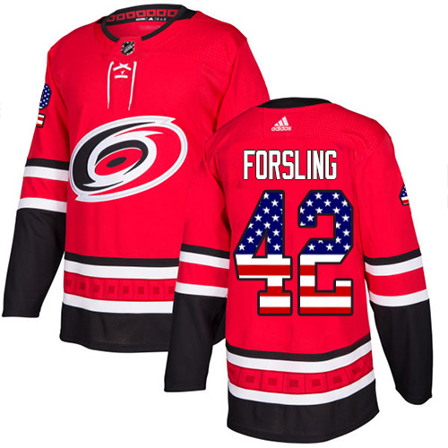 Adidas Hurricanes #42 Gustav Forsling Red Home Authentic USA Flag Stitched Youth NHL Jersey