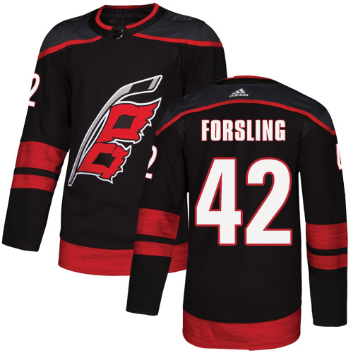 Adidas Hurricanes #42 Gustav Forsling Black Alternate Authentic Stitched Youth NHL Jersey