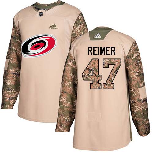 Adidas Hurricanes #47 James Reimer Camo Authentic 2017 Veterans Day Stitched Youth NHL Jersey
