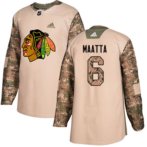 Adidas Blackhawks #6 Olli Maatta Camo Authentic 2017 Veterans Day Stitched Youth NHL Jersey