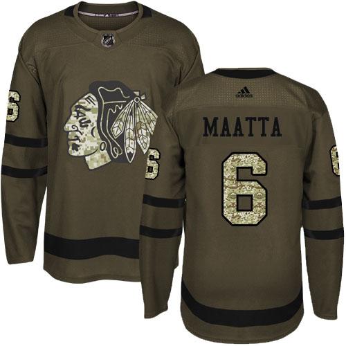 Adidas Blackhawks #6 Olli Maatta Green Salute to Service Stitched Youth NHL Jersey