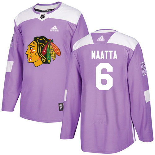 Adidas Blackhawks #6 Olli Maatta Purple Authentic Fights Cancer Stitched Youth NHL Jersey