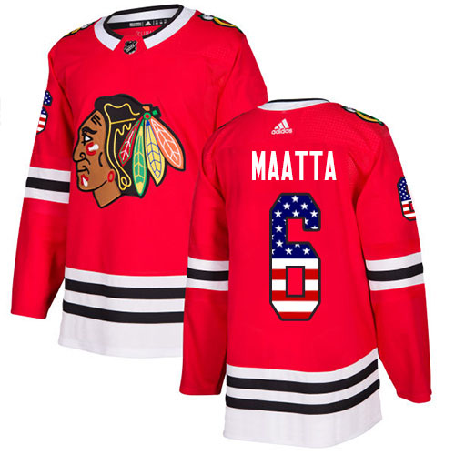Adidas Blackhawks #6 Olli Maatta Red Home Authentic USA Flag Stitched Youth NHL Jersey