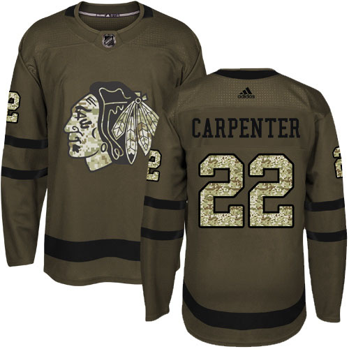 Adidas Blackhawks #22 Ryan Carpenter Green Salute to Service Stitched Youth NHL Jersey