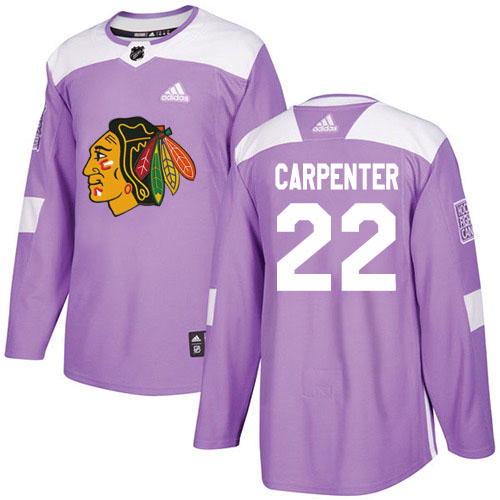 Adidas Blackhawks #22 Ryan Carpenter Purple Authentic Fights Cancer Stitched Youth NHL Jersey