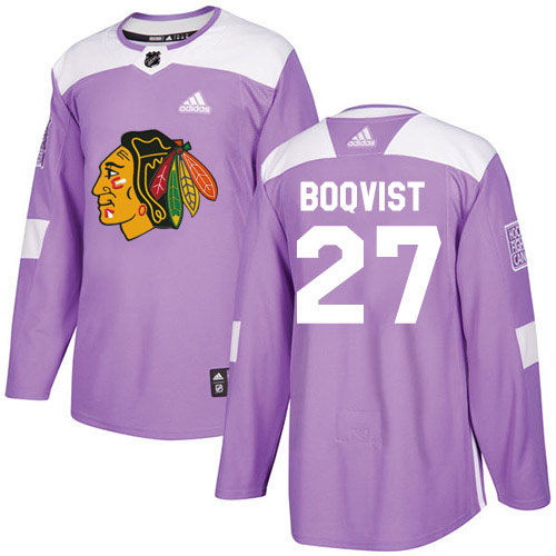Adidas Blackhawks #27 Adam Boqvist Purple Authentic Fights Cancer Stitched Youth NHL Jersey