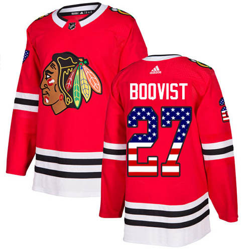 Adidas Blackhawks #27 Adam Boqvist Red Home Authentic USA Flag Stitched Youth NHL Jersey