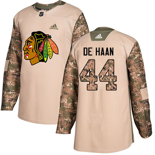 Adidas Blackhawks #44 Calvin De Haan Camo Authentic 2017 Veterans Day Stitched Youth NHL Jersey