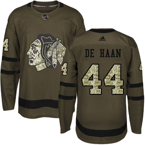 Adidas Blackhawks #44 Calvin De Haan Green Salute to Service Stitched Youth NHL Jersey