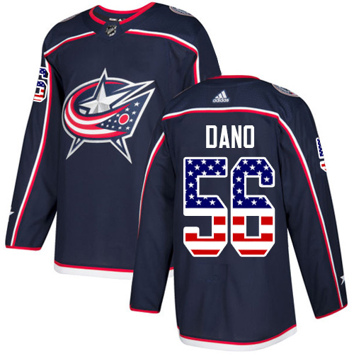 Adidas Blue Jackets #56 Marko Dano Navy Blue Home Authentic USA Flag Stitched Youth NHL Jersey