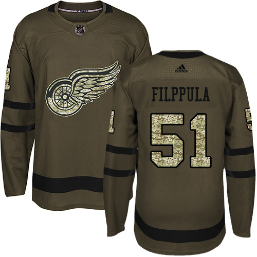 Adidas Red Wings #51 Valtteri Filppula Green Salute to Service Stitched Youth NHL Jersey