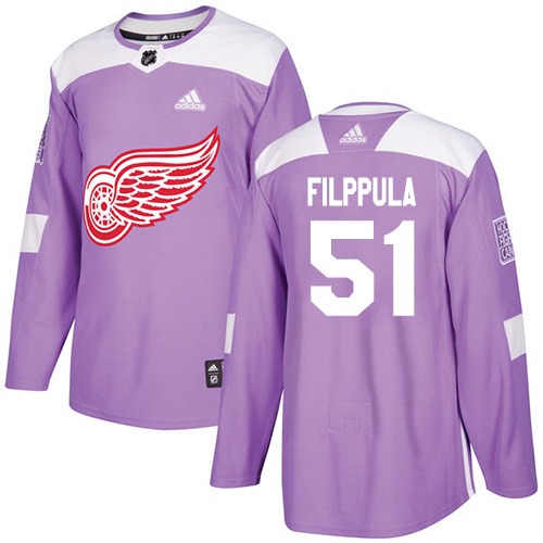 Adidas Red Wings #51 Valtteri Filppula Purple Authentic Fights Cancer Stitched Youth NHL Jersey