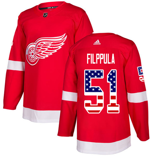 Adidas Red Wings #51 Valtteri Filppula Red Home Authentic USA Flag Stitched Youth NHL Jersey