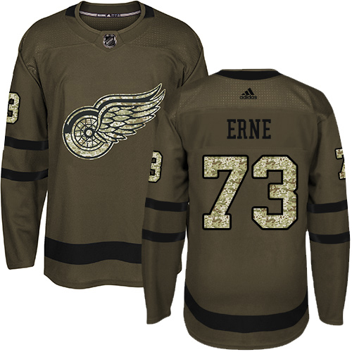 Adidas Red Wings #73 Adam Erne Green Salute to Service Stitched Youth NHL Jersey