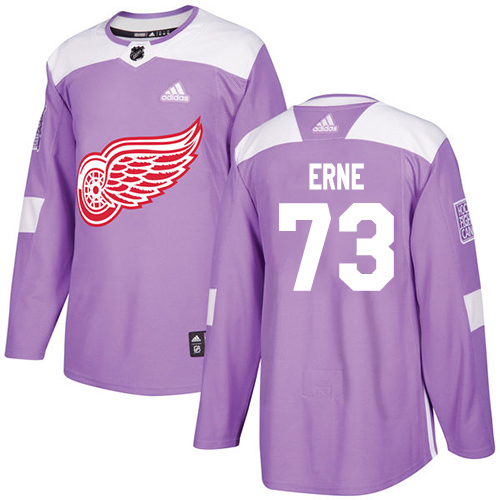 Adidas Red Wings #73 Adam Erne Purple Authentic Fights Cancer Stitched Youth NHL Jersey