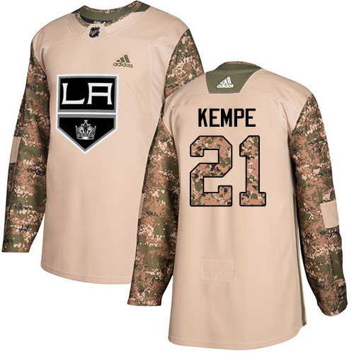 Adidas Kings #21 Mario Kempe Camo Authentic 2017 Veterans Day Stitched Youth NHL Jersey