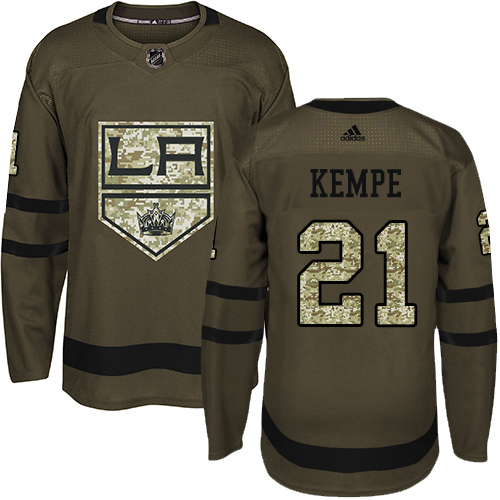 Adidas Kings #21 Mario Kempe Green Salute to Service Stitched Youth NHL Jersey