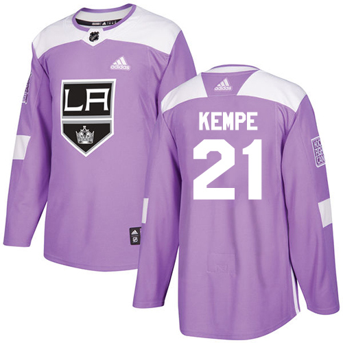 Adidas Kings #21 Mario Kempe Purple Authentic Fights Cancer Stitched Youth NHL Jersey