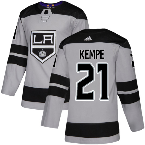 Adidas Kings #21 Mario Kempe Gray Alternate Authentic Stitched Youth NHL Jersey