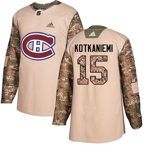 Adidas Canadiens #15 Jesperi Kotkaniemi Camo Authentic 2017 Veterans Day Stitched Youth NHL Jersey