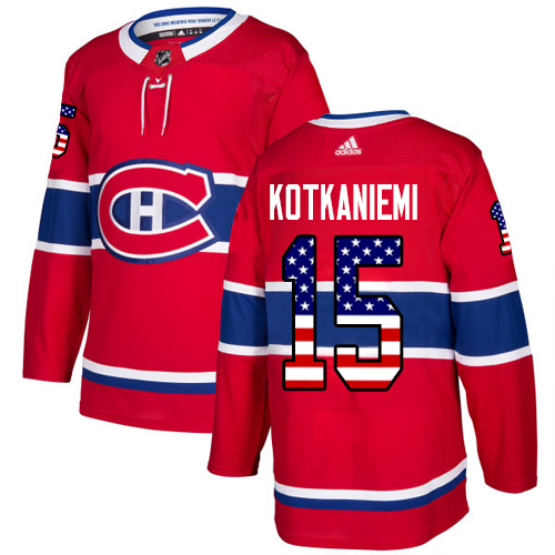 Adidas Canadiens #15 Jesperi Kotkaniemi Red Home Authentic USA Flag Stitched Youth NHL Jersey