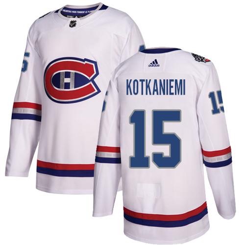 Adidas Canadiens #15 Jesperi Kotkaniemi White Authentic 2017 100 Classic Stitched Youth NHL Jersey