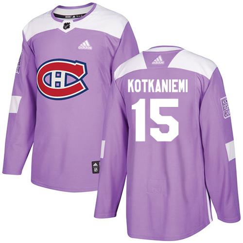 Adidas Canadiens #15 Jesperi Kotkaniemi Purple Authentic Fights Cancer Stitched Youth NHL Jersey