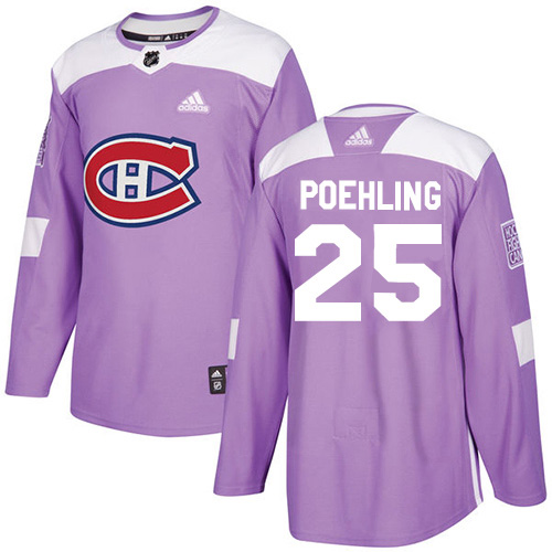 Adidas Canadiens #25 Ryan Poehling Purple Authentic Fights Cancer Stitched Youth NHL Jersey
