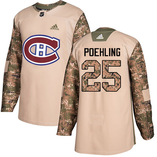 Adidas Canadiens #25 Ryan Poehling Camo Authentic 2017 Veterans Day Stitched Youth NHL Jersey
