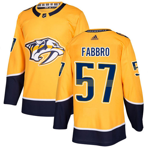 Adidas Predators #57 Dante Fabbro Yellow Home Authentic Stitched Youth NHL Jersey
